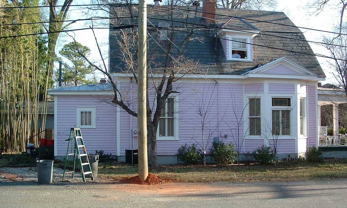 Side view of historic home before addition and remodeling