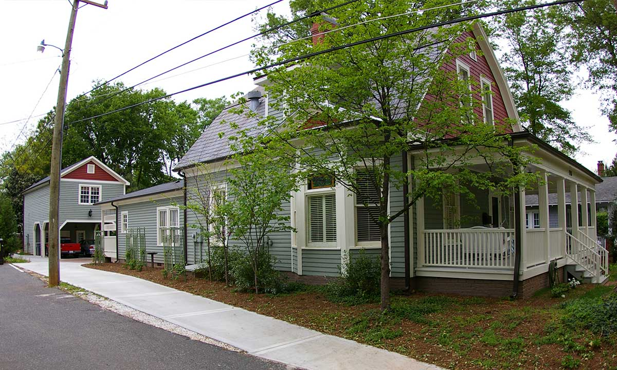 View of addition and historic home renovations