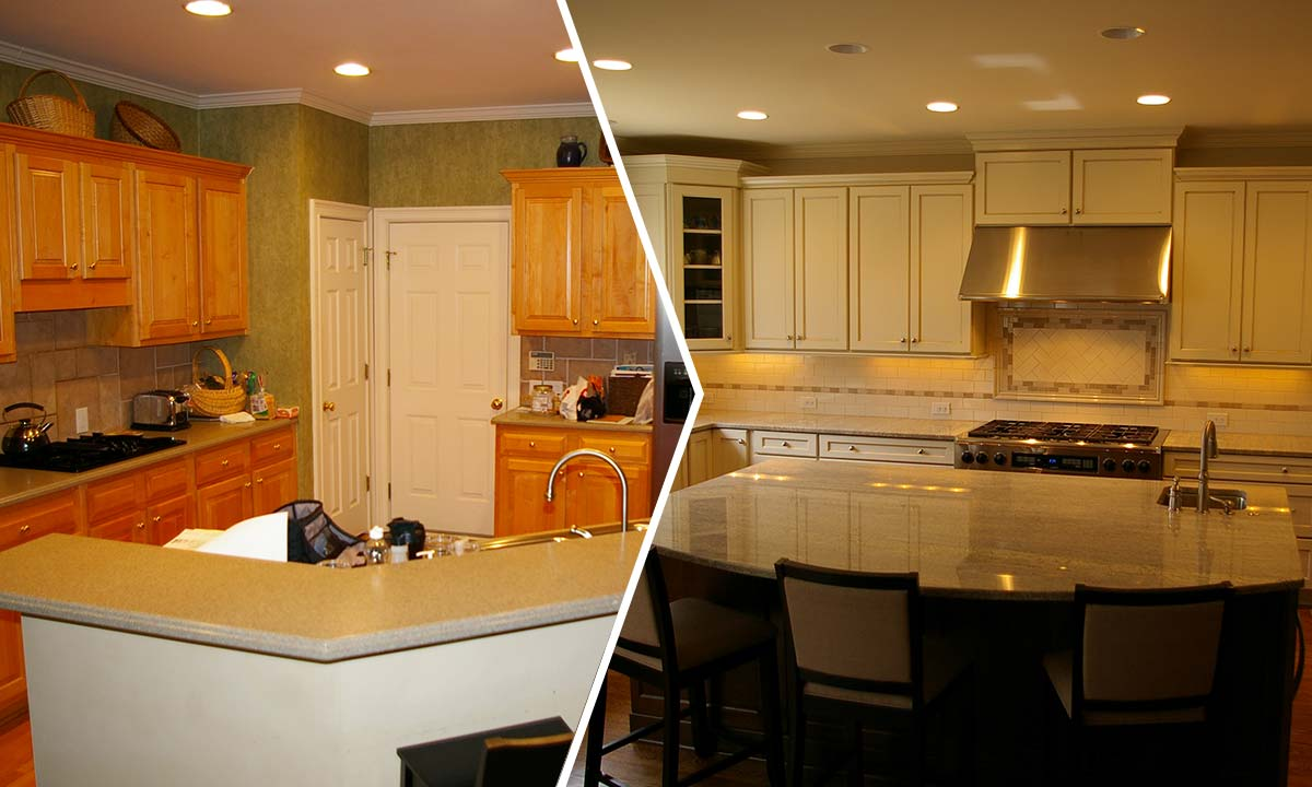 Home addition and kitchen remodel before and after photos