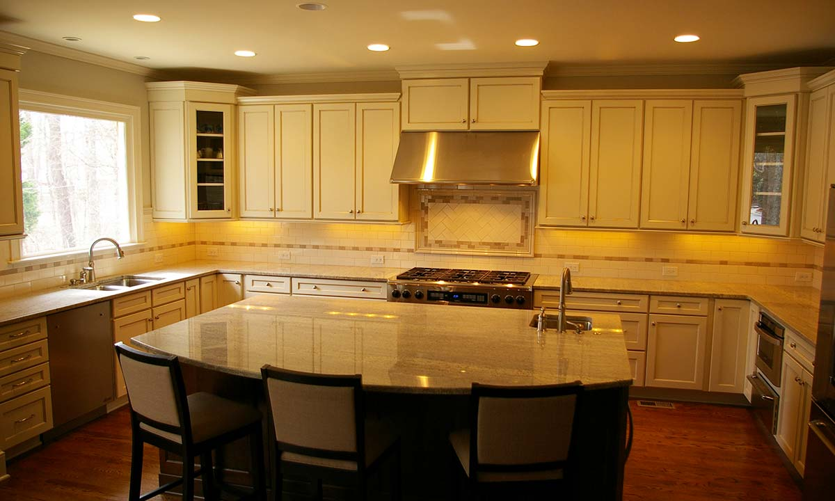 Wide angle interior photo of home addition and kitchen remodel