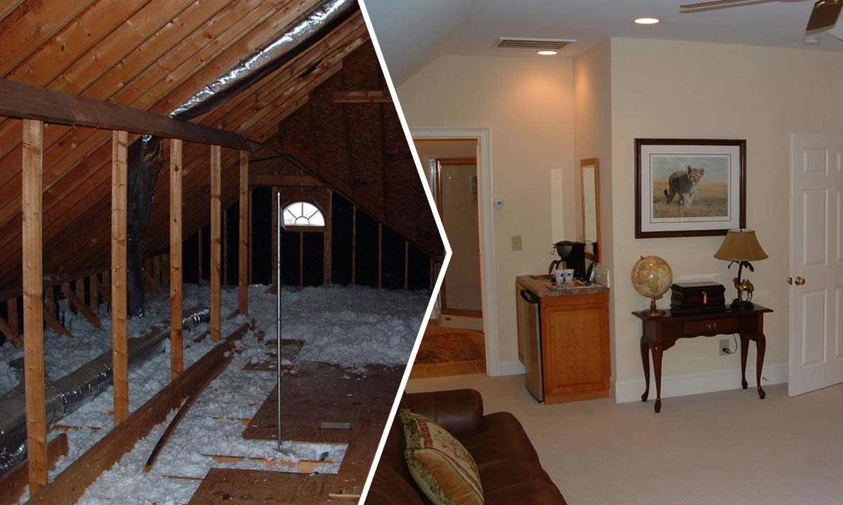 Before and after the attic conversion with a partial view of the new bathroom and home office