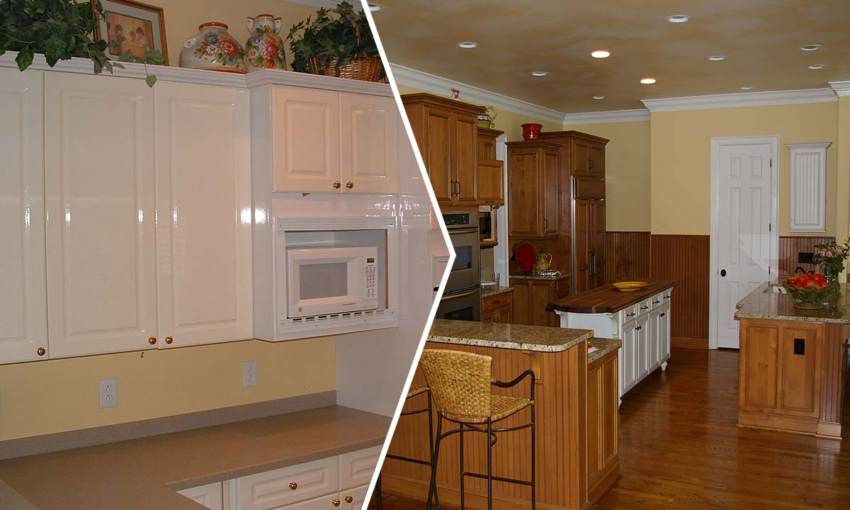 Before and after photos of kitchen remodeling part of this full home renovation
