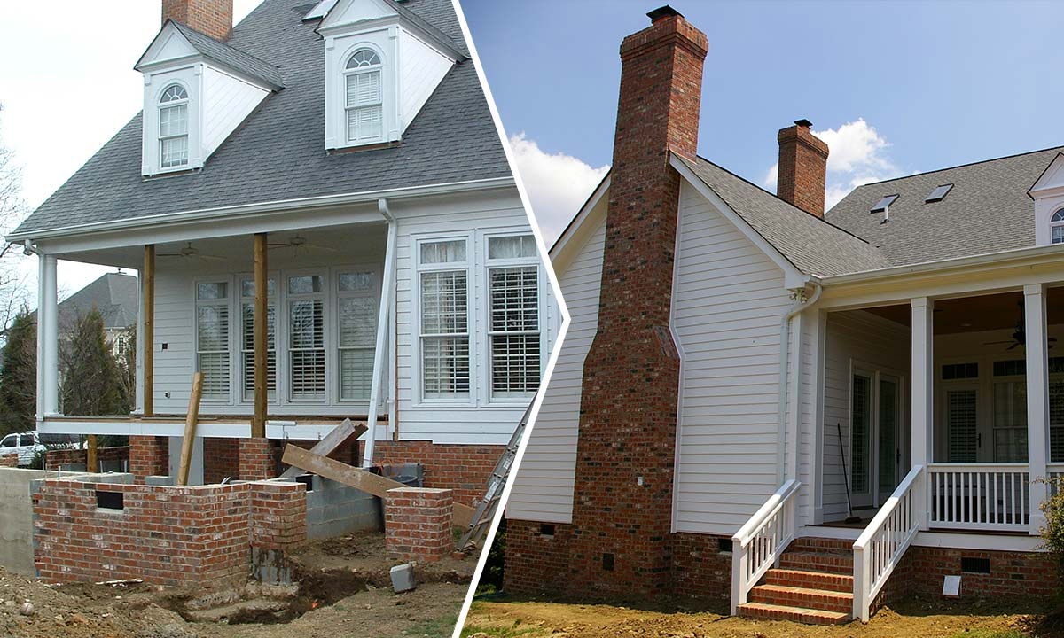 This photo shows the before and after comparison of a major home renovation and addition done in an upscale Charlotte, NC neighborhood
