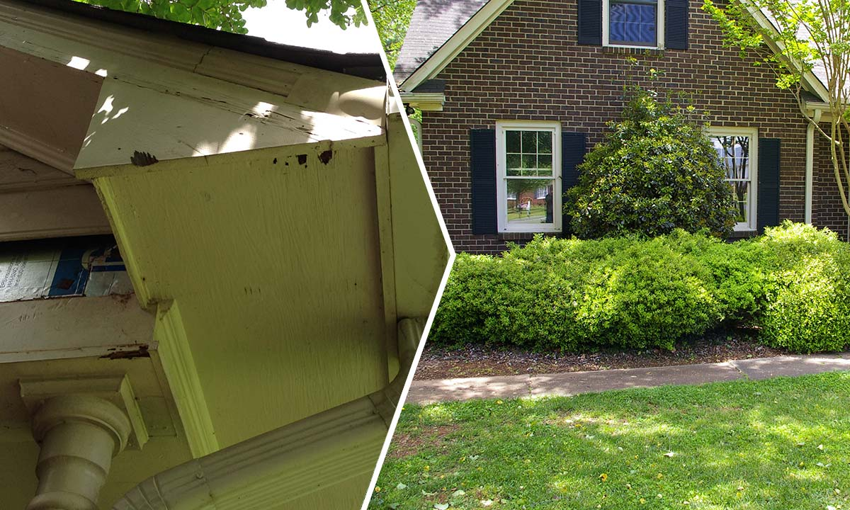Home siding and trim wood rot before and after repair