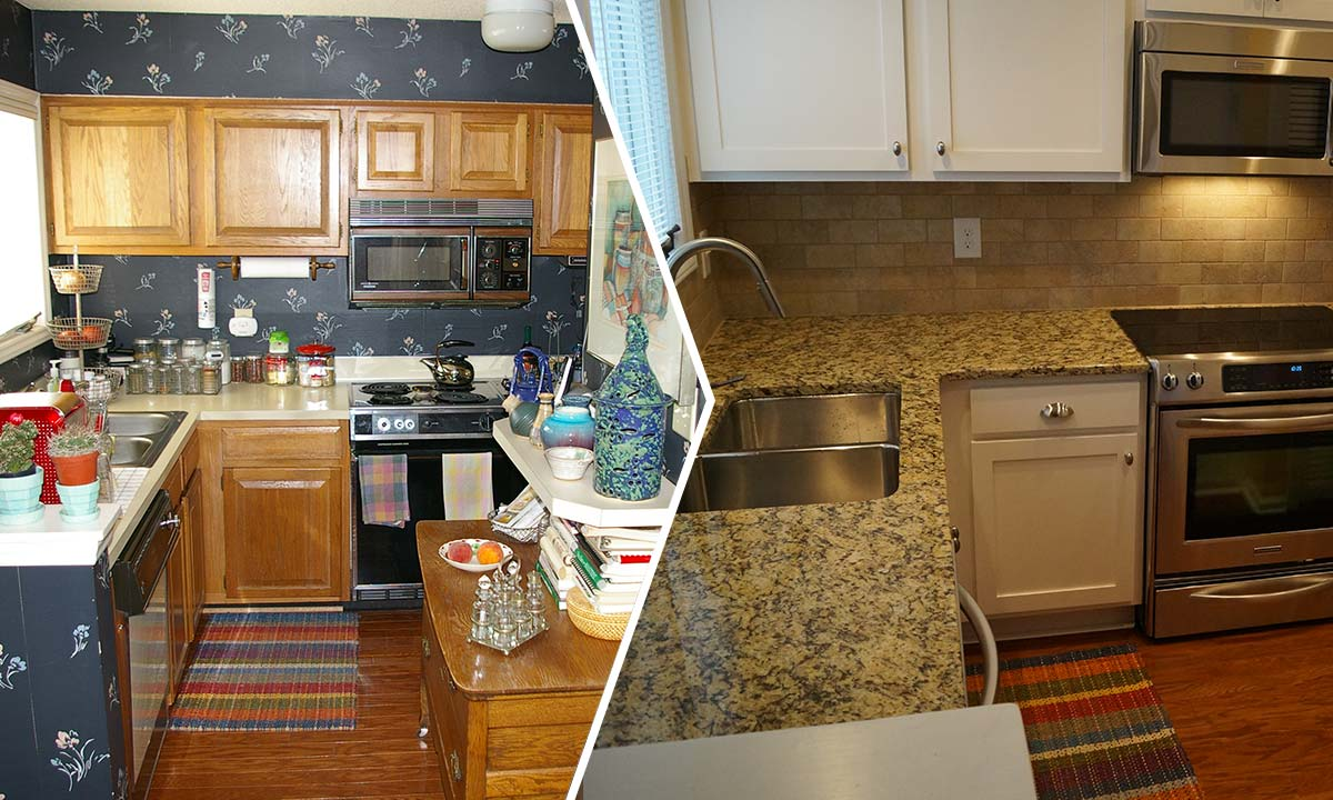 Before and after pictures of Charlotte condo kitchen remodel
