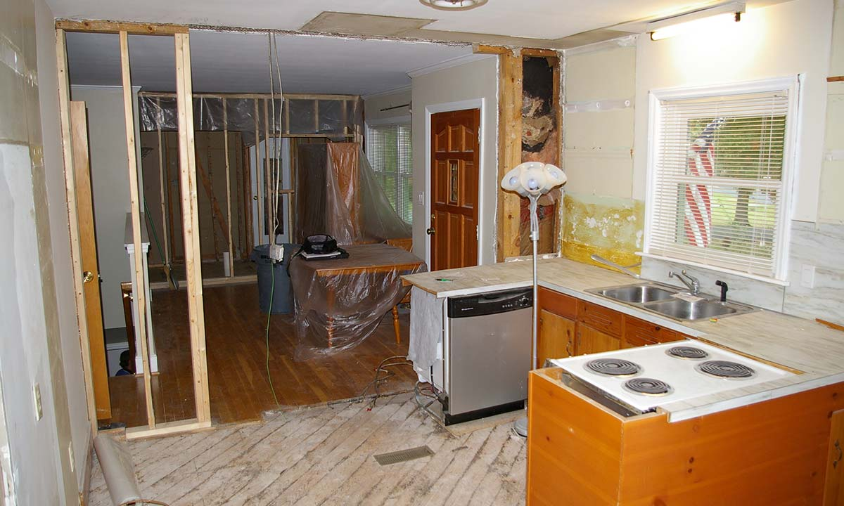 Construction during kitchen remodeling