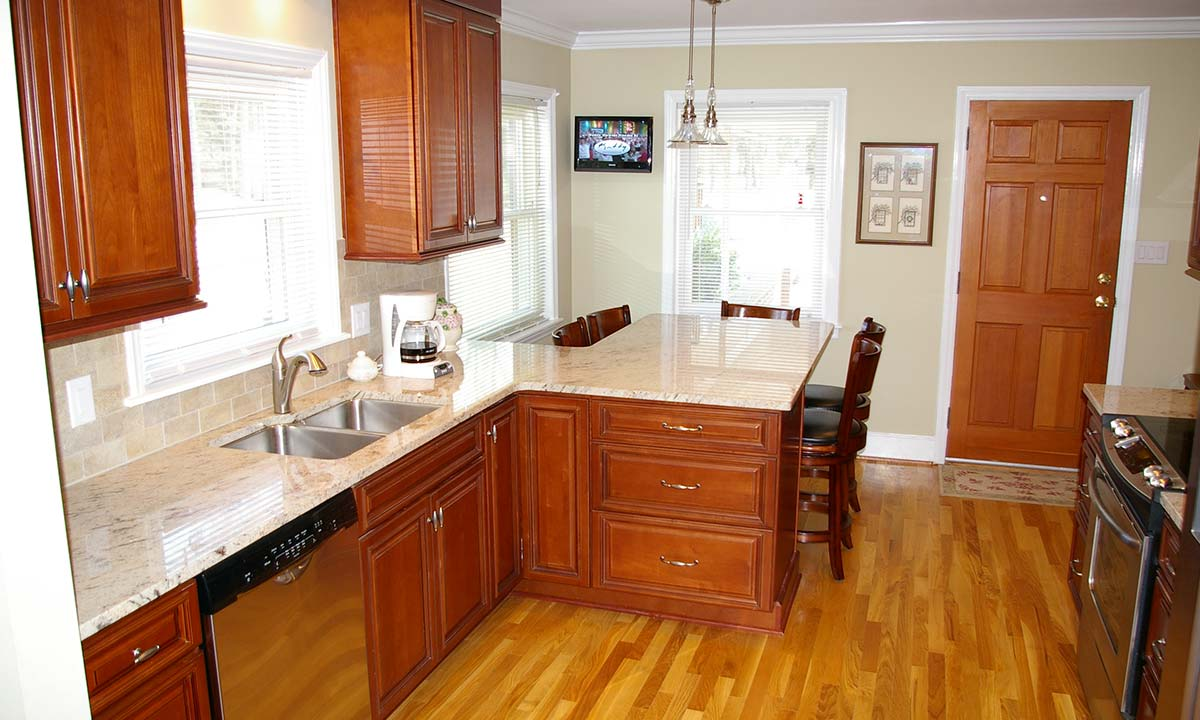 "Kitchen remodel ""after"" photo showing how it was enlarged"
