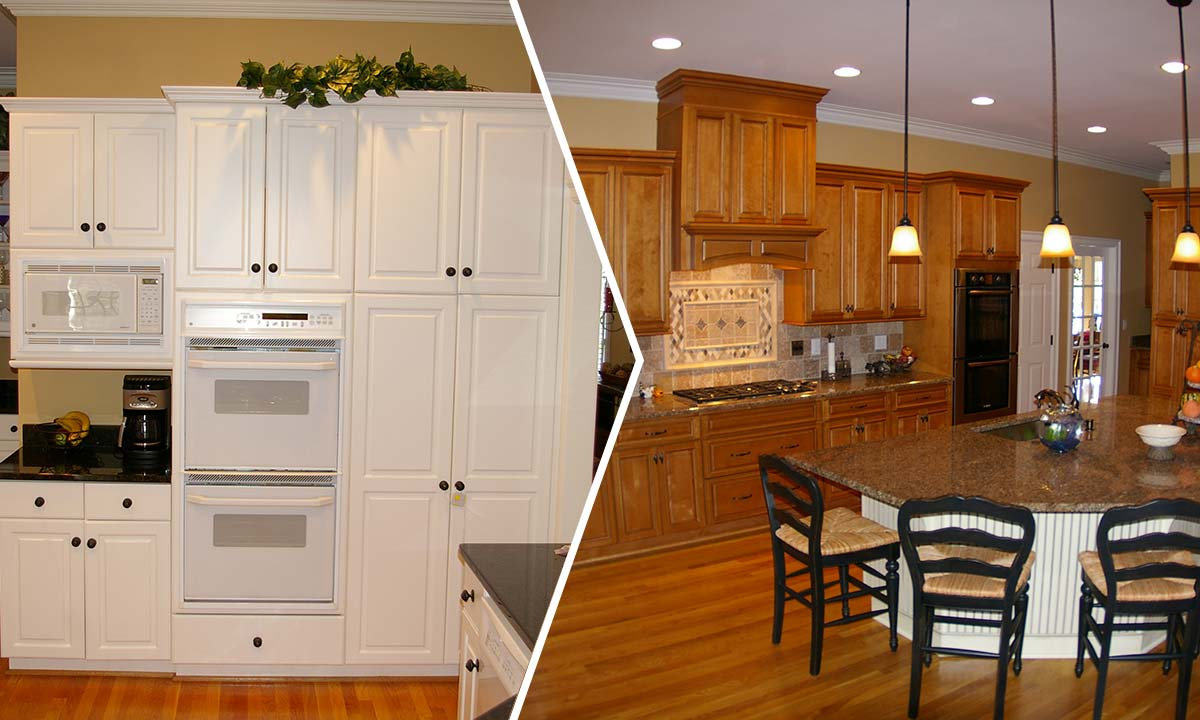 Before and after kitchen and morning room remodel