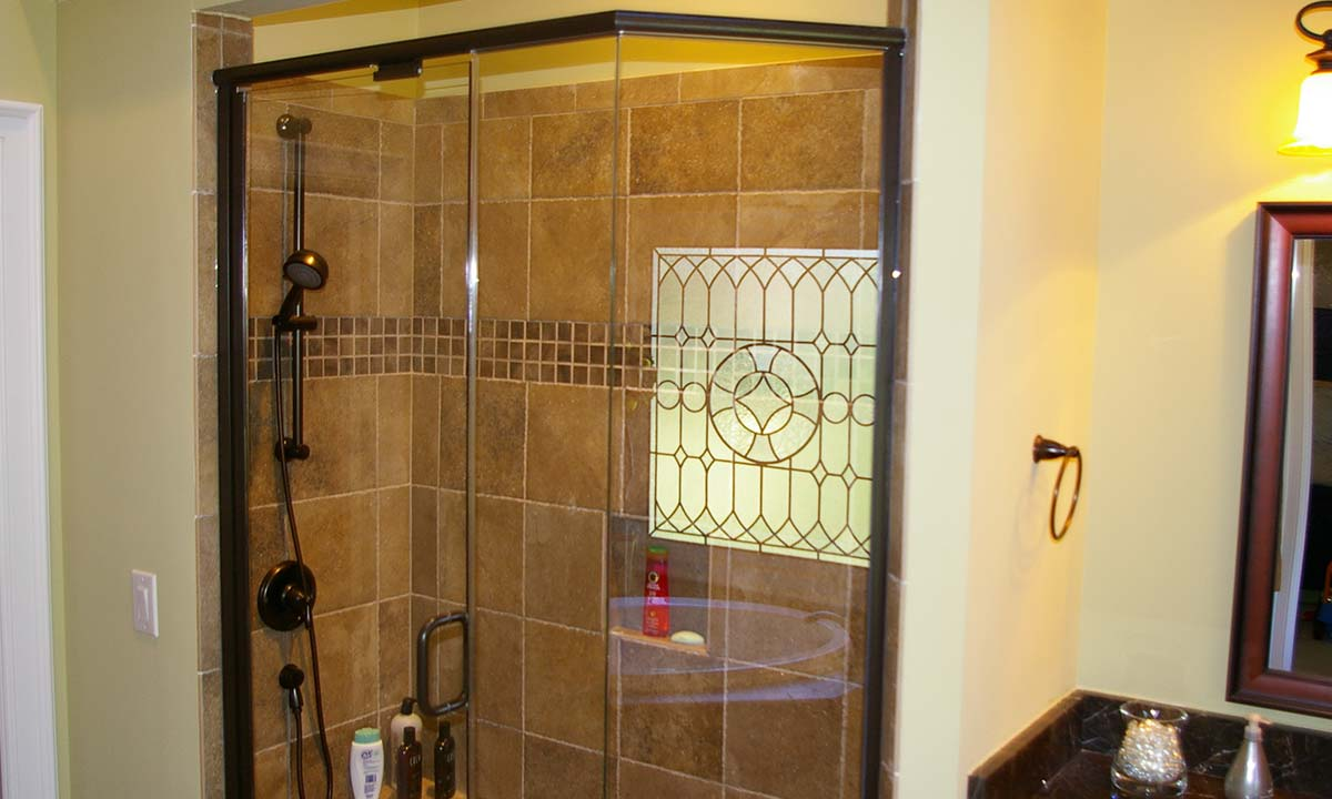 Bathroom remodeling – view of new tile shower