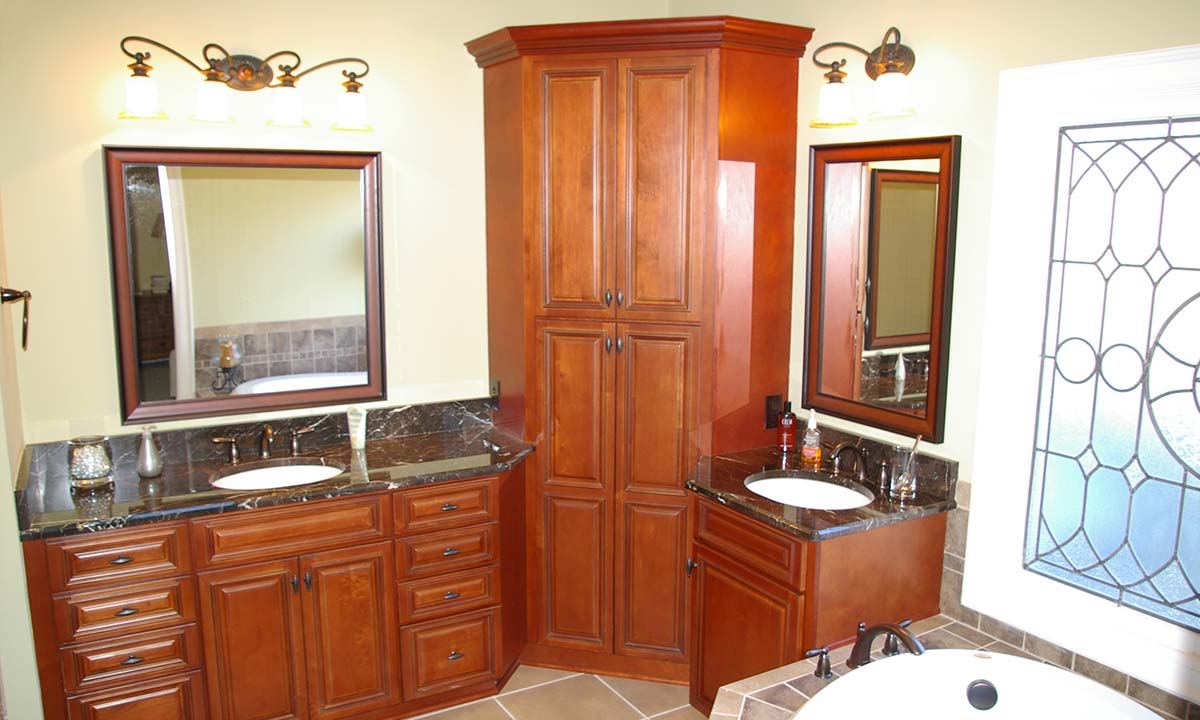 Bathroom remodeling – view of new sink countertops, cabinets and mirrors