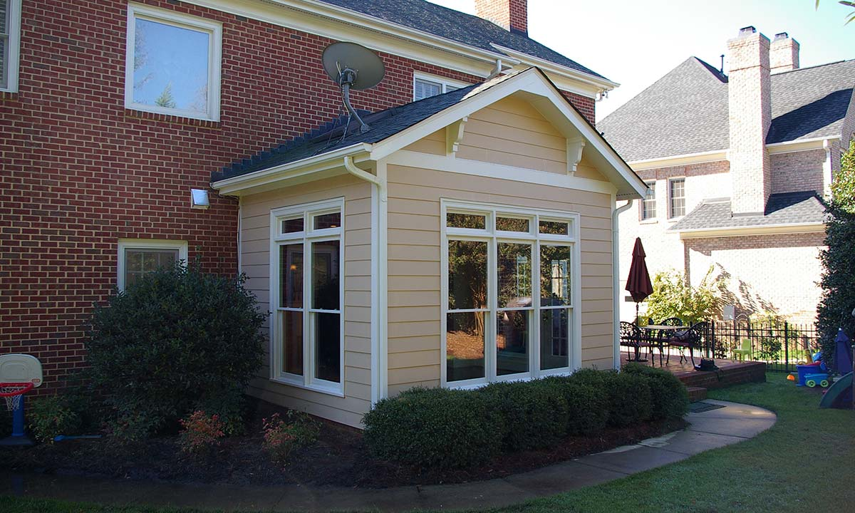 Exterior view of new morning room after converting the screened porch