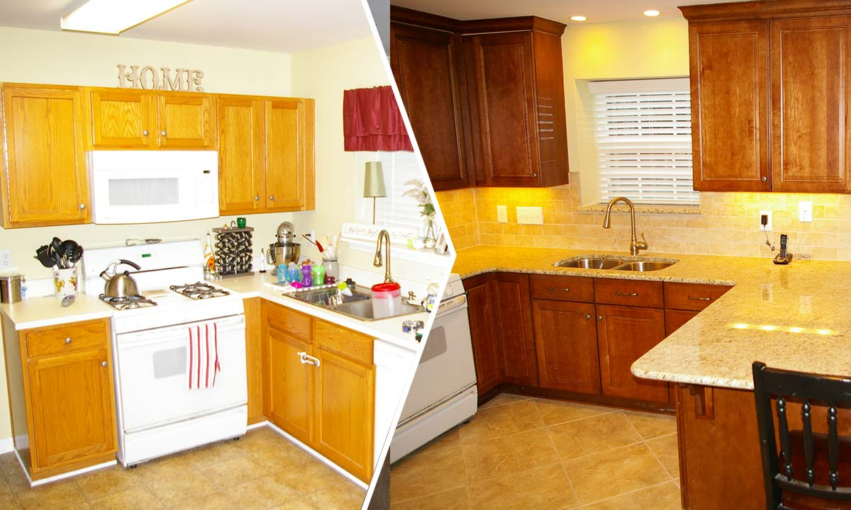 Before and after kitchen renovation picture