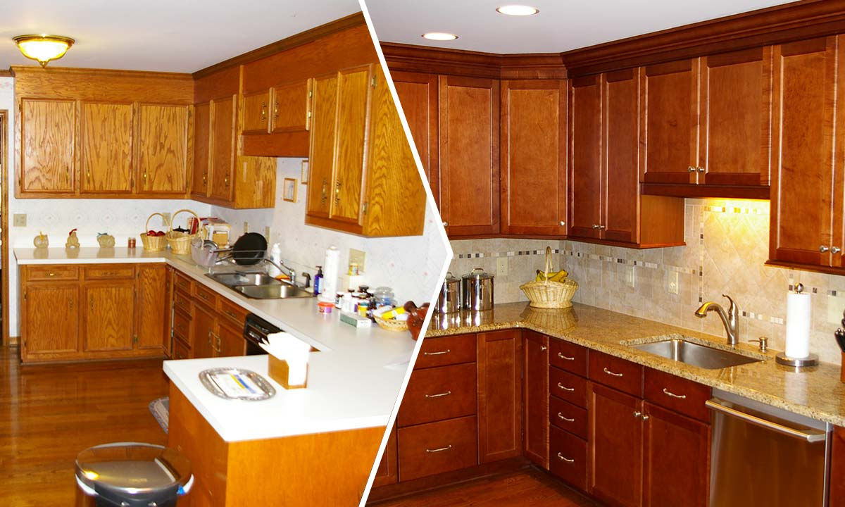 Full kitchen renovation with before and after comparison pictures
