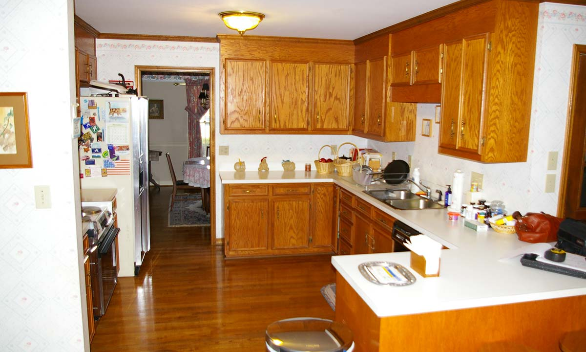 Before view of outdated kitchen