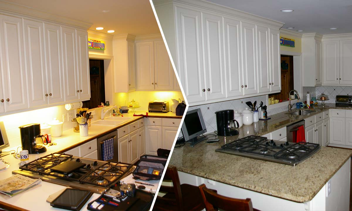 Before and after photo of kitchen revamp