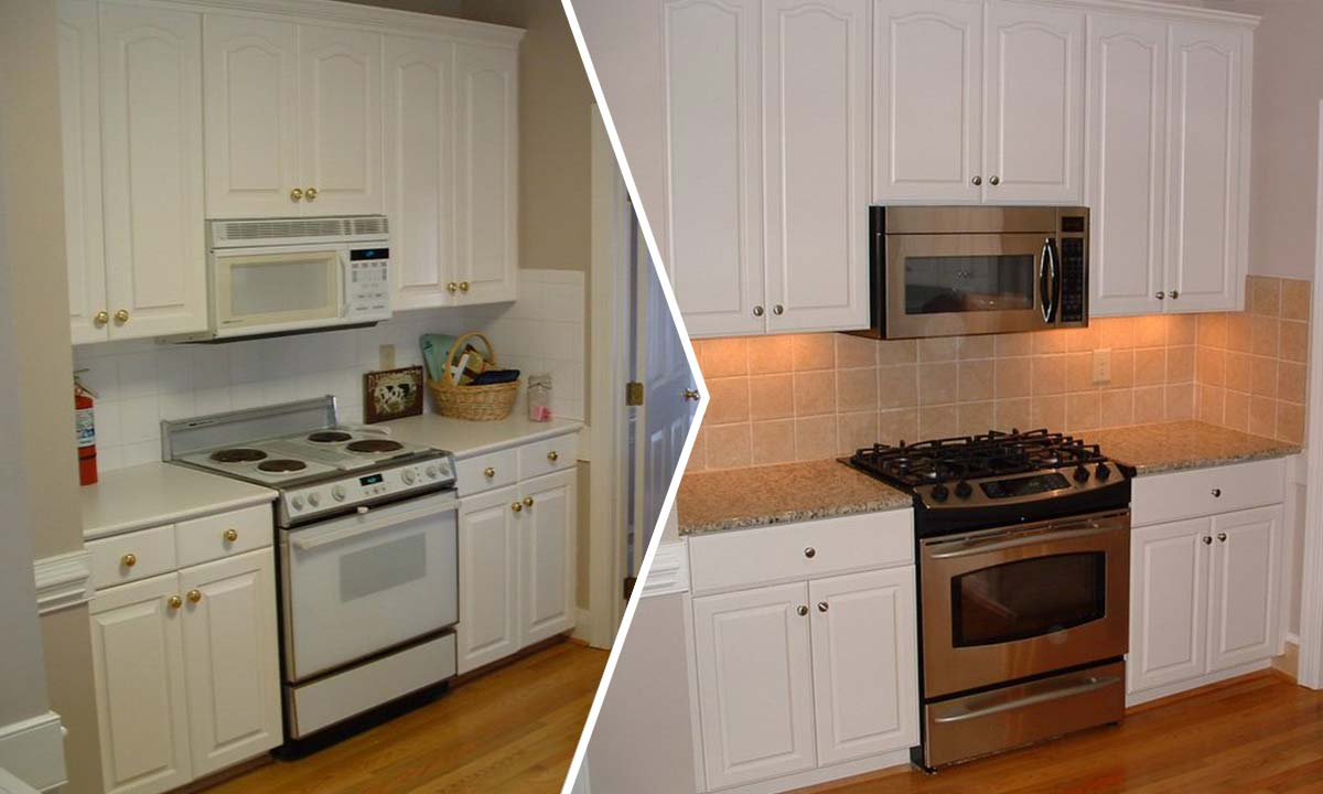 Kitchen update before and after photo comparison