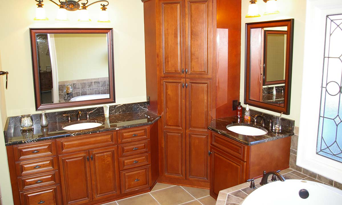 Bathroom remodeling with luxury – view of his and her sinks