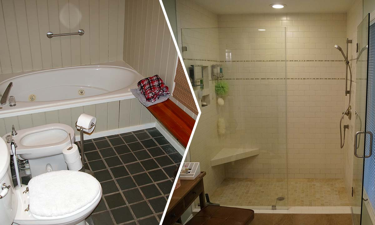 Before and after photo of bathroom repair and remodel
