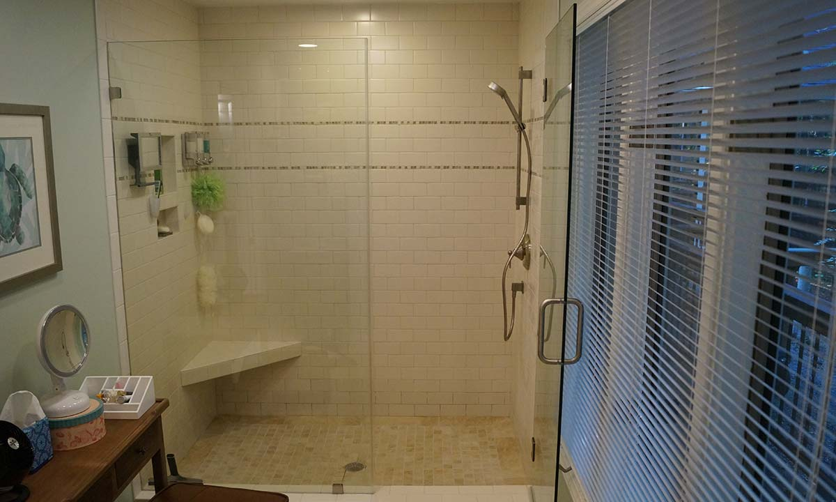 Beautiful new master bathroom walk-in glass shower