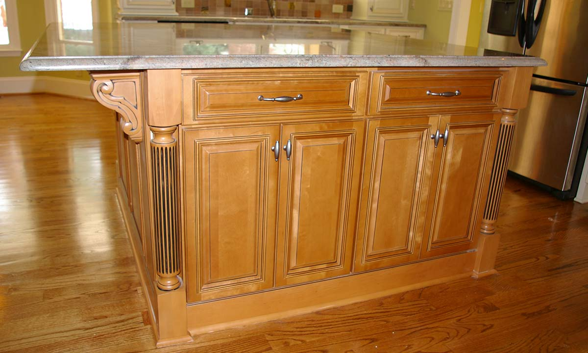 A photo of the new custom designed kitchen island