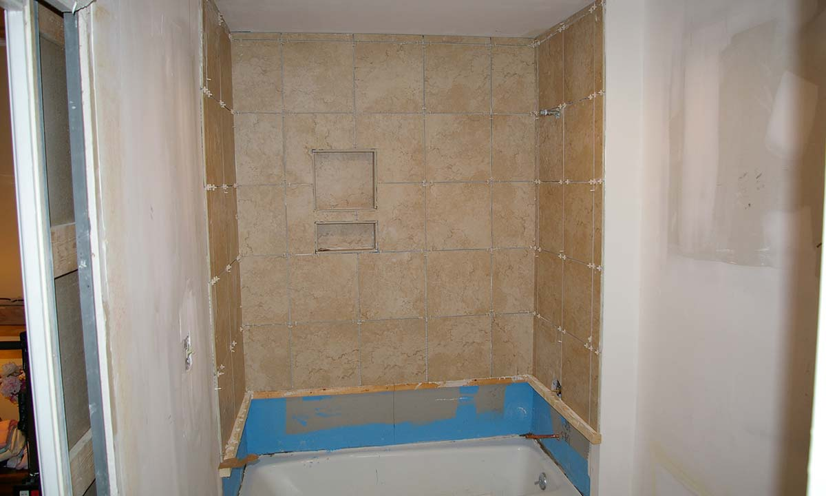 During construction photo of master bathroom shower