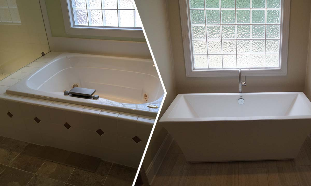 Freestanding Tub Master Bathroom Renovation Charlotte Home Renovations
