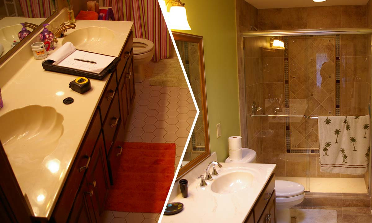 Master bathroom and guest bathroom remodel before and after