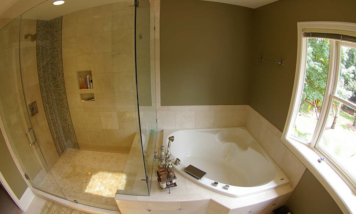 Finished Master Bathroom Remodel With View Of Tub And Shower