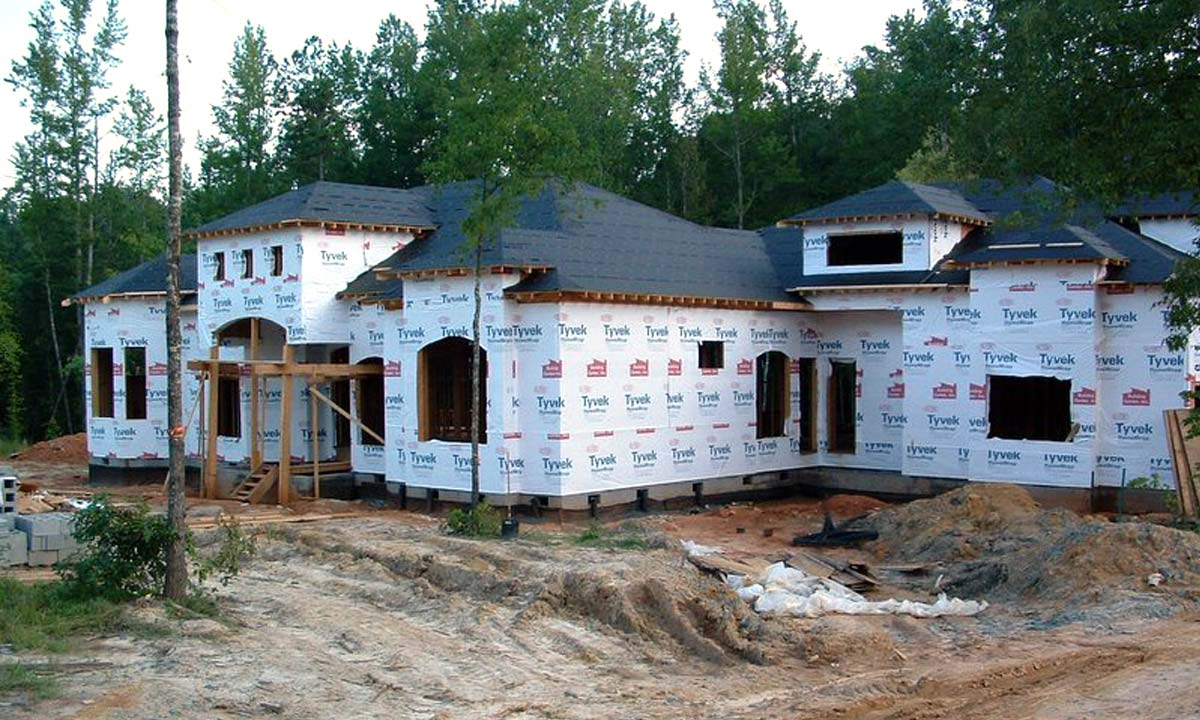 Photo showing construction of this Charlotte area custom built Mediterranean home
