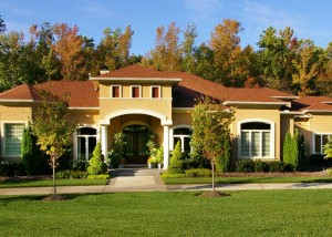 Exterior photo of custom built modern mediterranean home near Charlotte, NC