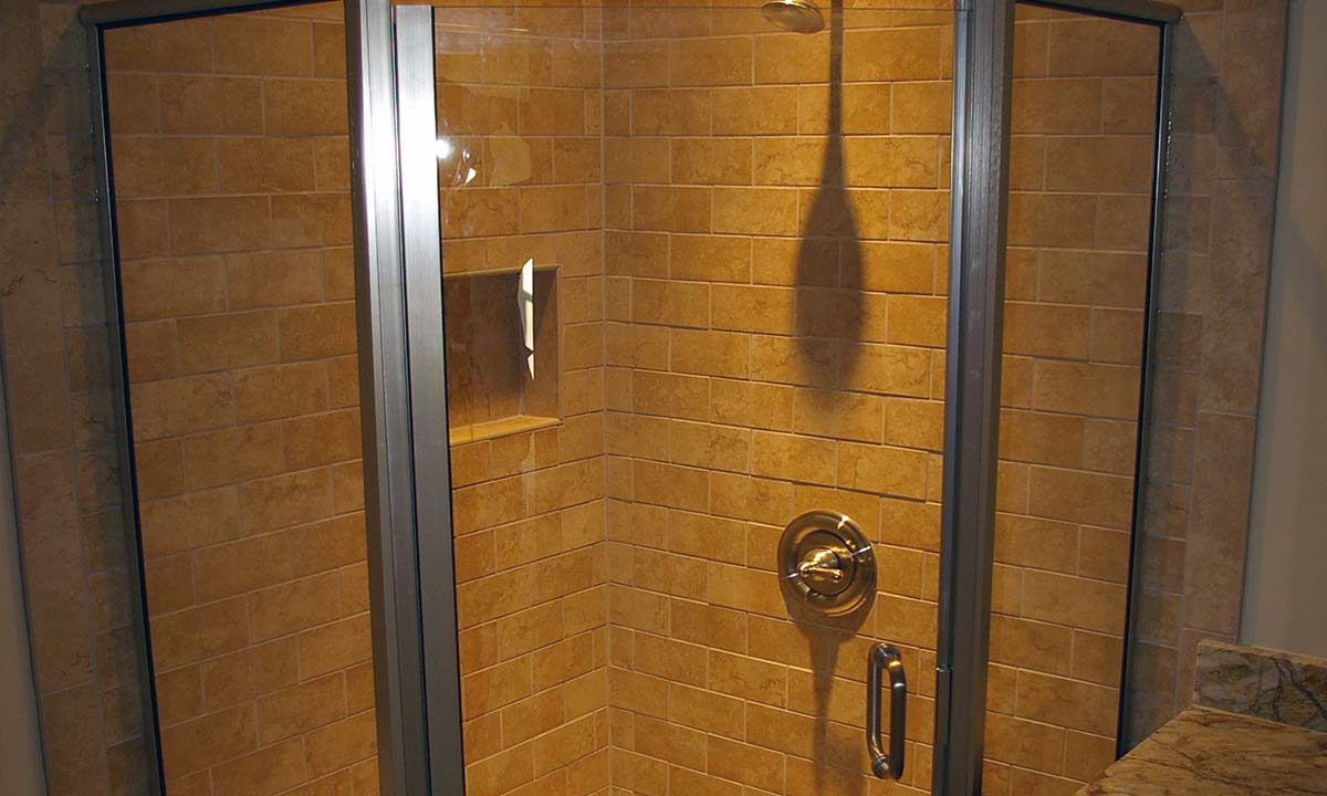 Photo of tiled angle walk-in shower
