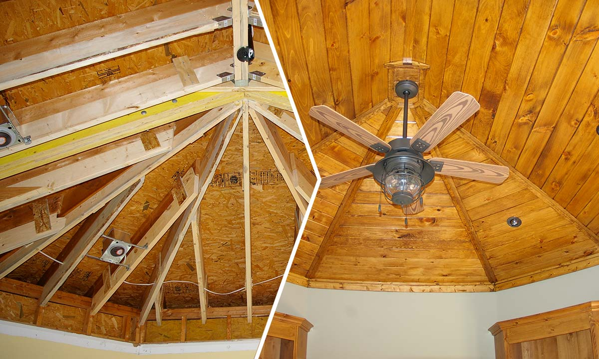 Before and after photo of ceiling in the new home office