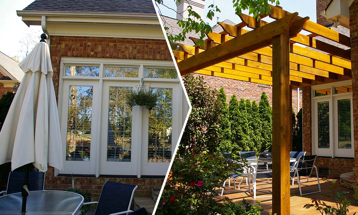 Before and after photos of a pergola addition