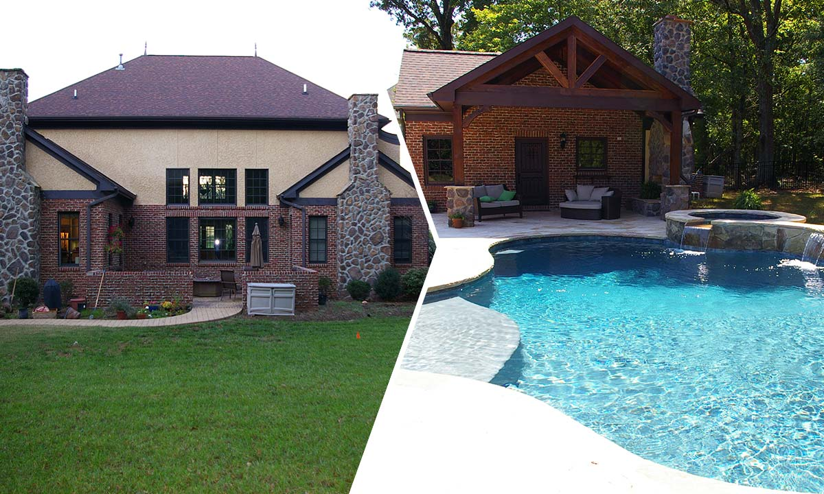 before and after picture of pool house