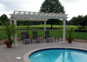 New poolside pergola with a