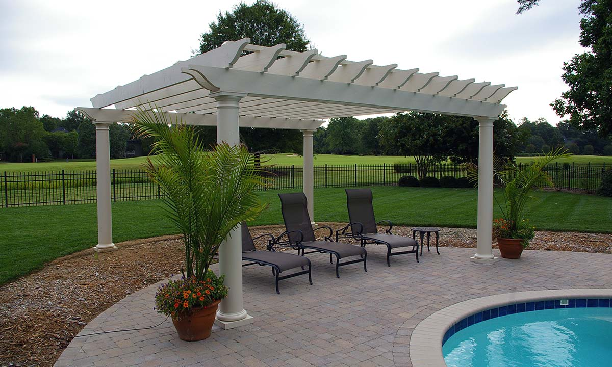 Poolside pergola addition was solidly designed and built to withstand strong cross winds