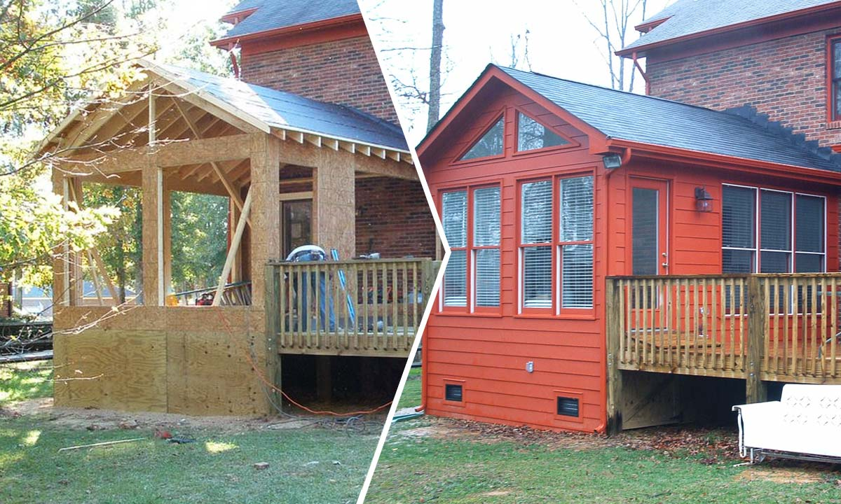 Sunroom addition before and after