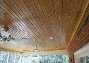 New ceiling after screened porch ceiling repairs