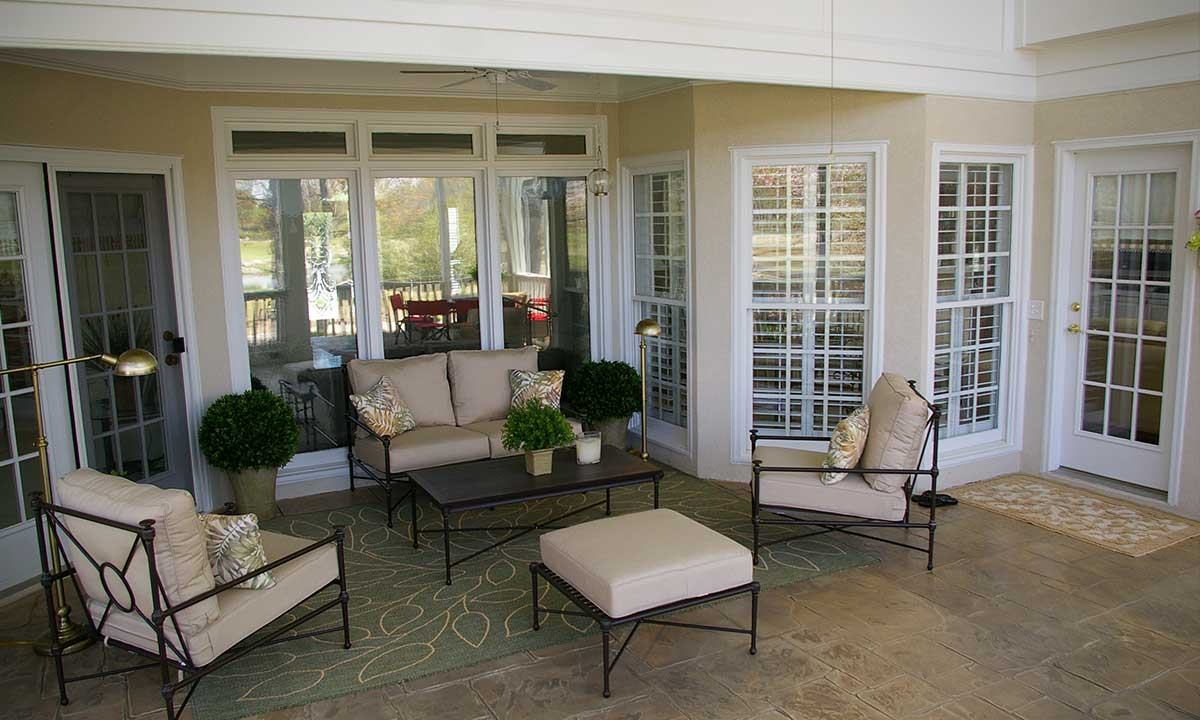 Inside view of new screened porch