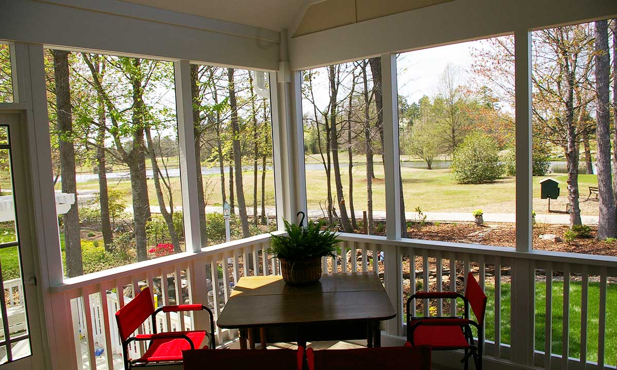 Screened porch view looking out over golf course