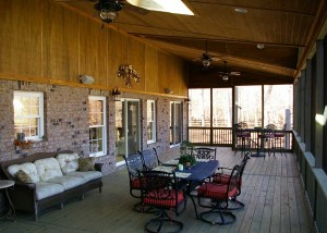 Interior view of screened porch addition