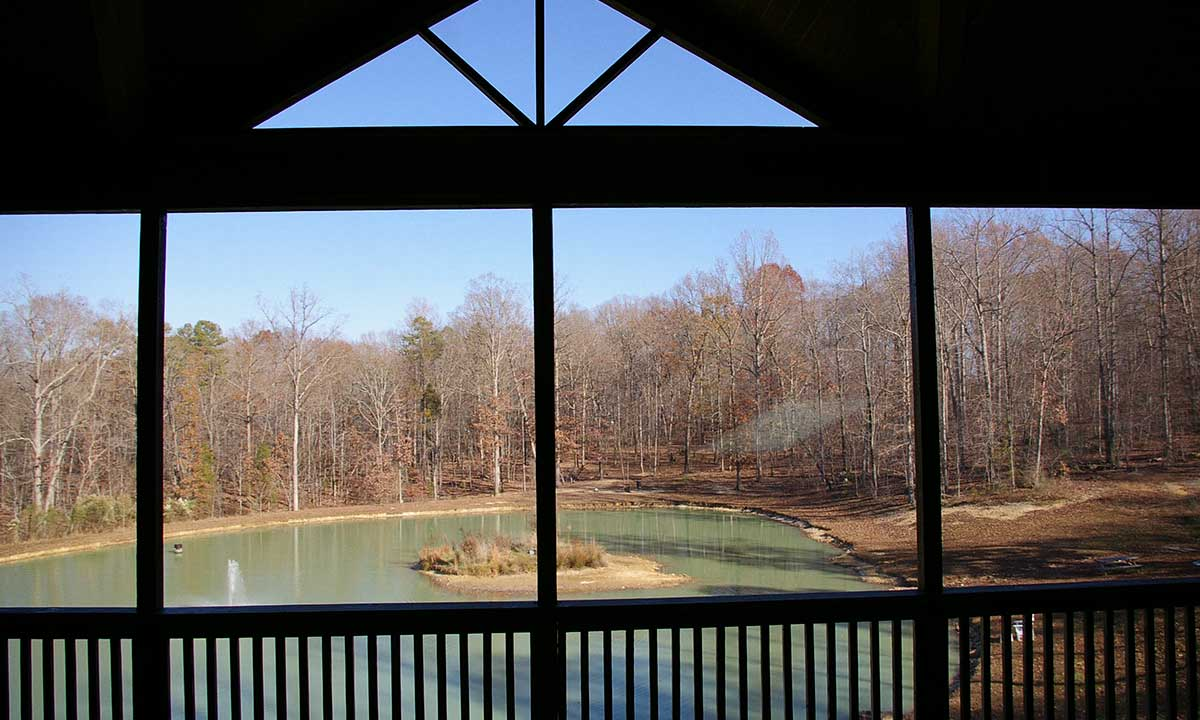 Screened porch view of pond