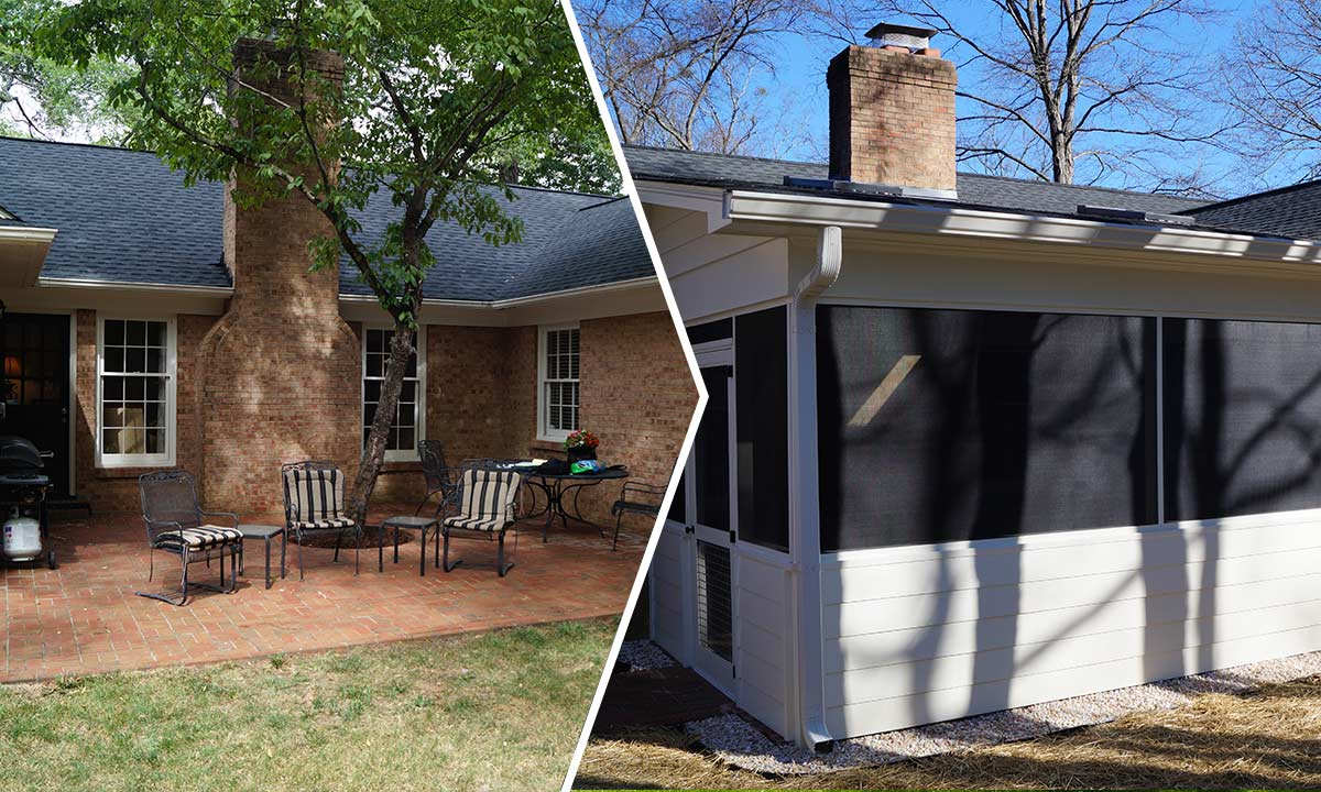 Screened porch addition before and after
