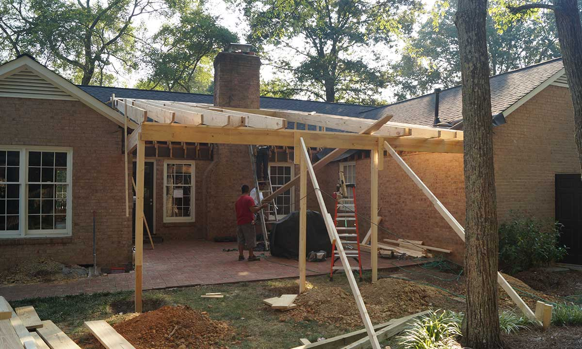 During construction of screened porch