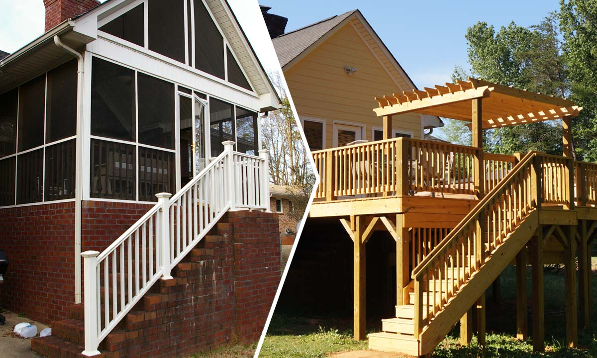 Before and after comparison photo of screened porch to sunroom conversion with new extended deck and sunken hot tub.