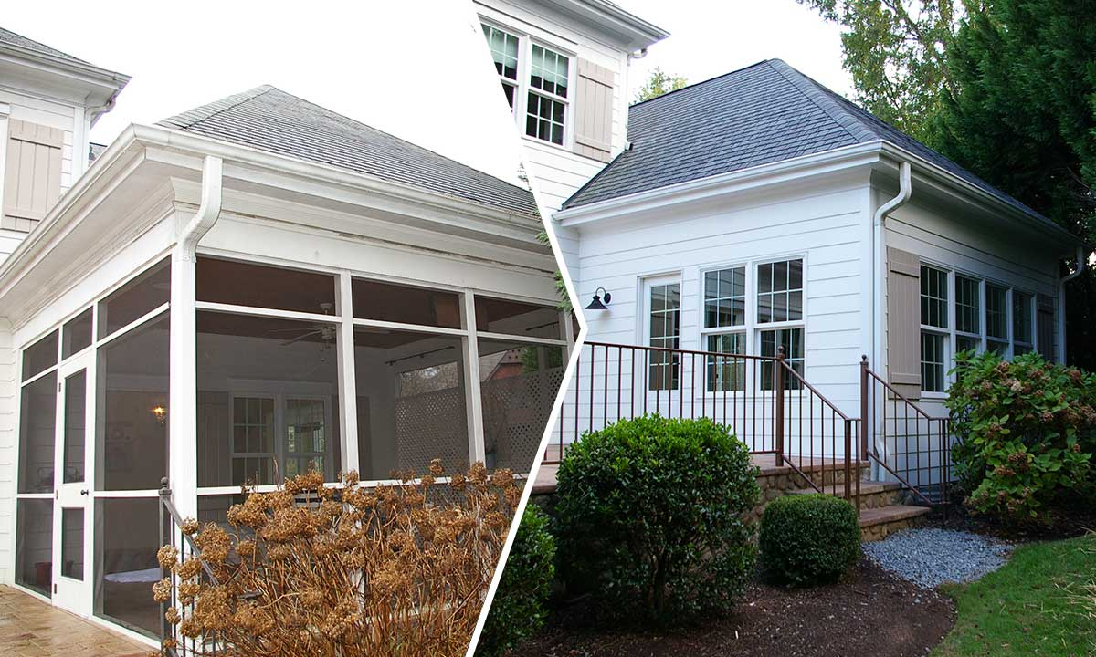 Screened porch conversion before and after