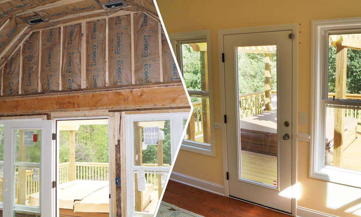 During and after sunroom construction interior photos