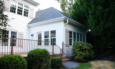 Exterior view of new sunroom after the screened porch conversion in Charlotte, NC