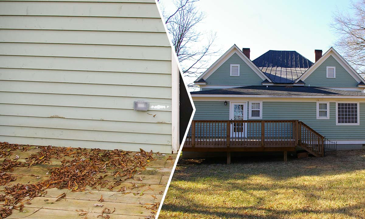 Home siding repairs – before and after