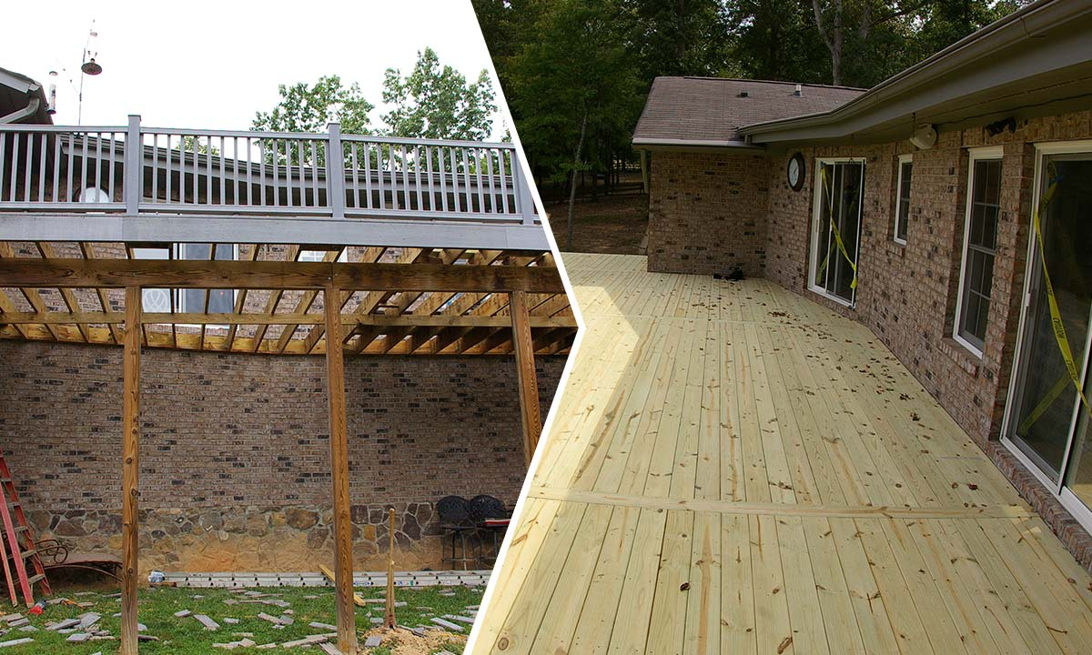 Structural deck repair before and after